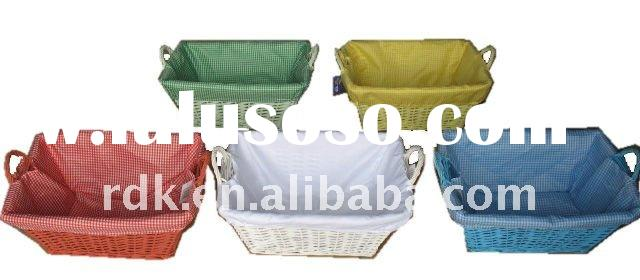 Rectangular Laundry Basket with Fabric Liner Willow and Wood Material