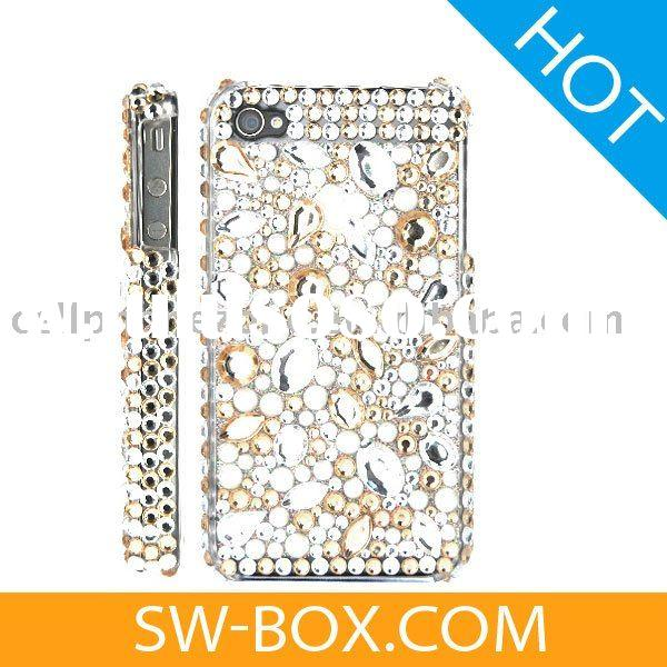 Rhinestone Diamond Bling Hard Case for iPhone 4 (Gold / Silver) /for iphone4 case