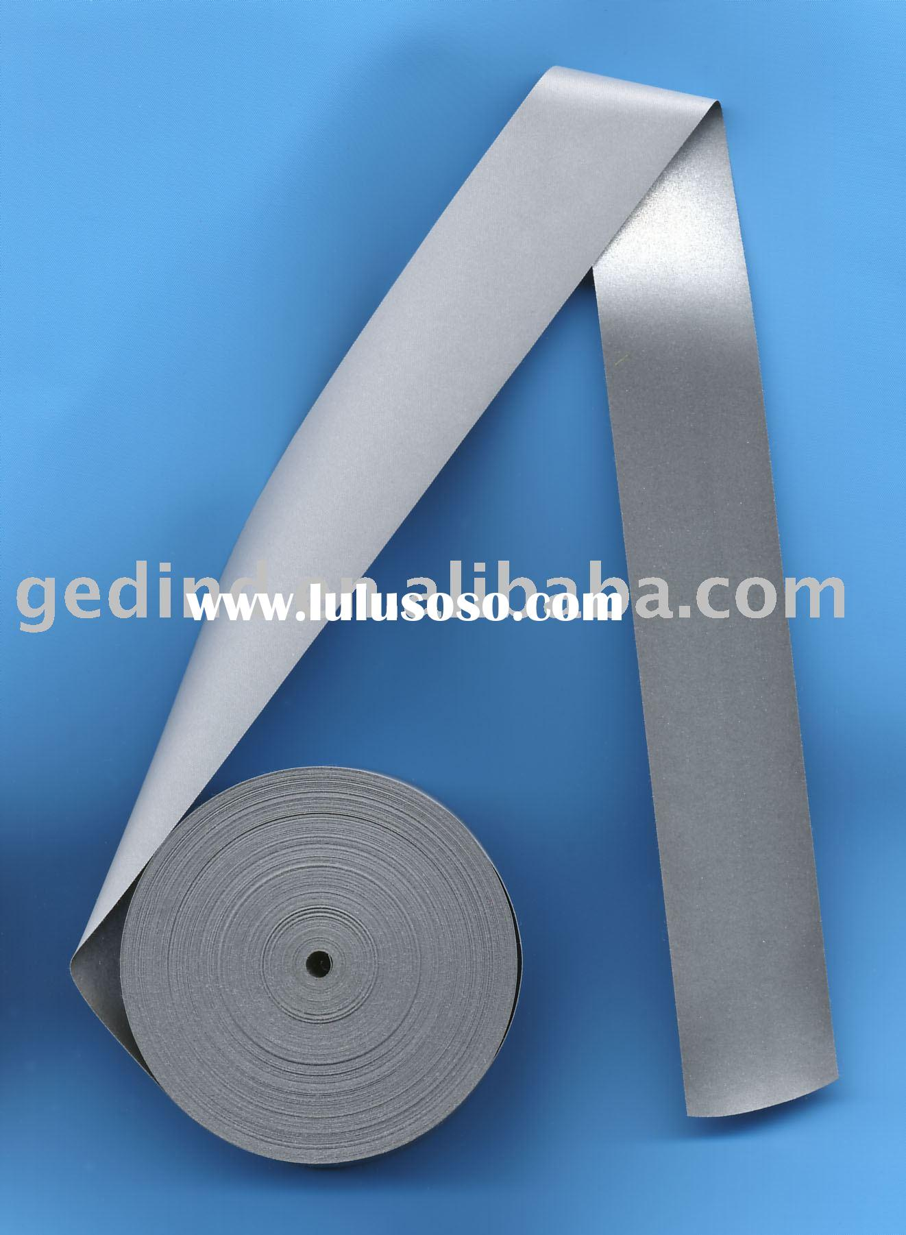 SHINY SILVER REFLECTIVE POLYESTER FABRIC CUT TAPE