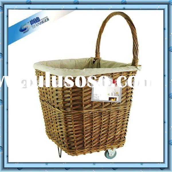 Square Natural Material Wicker Laundry Basket With Wheels