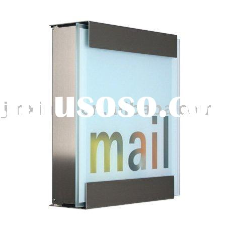 Stainless steel mailbox with satin finish glass / mail box / letter box