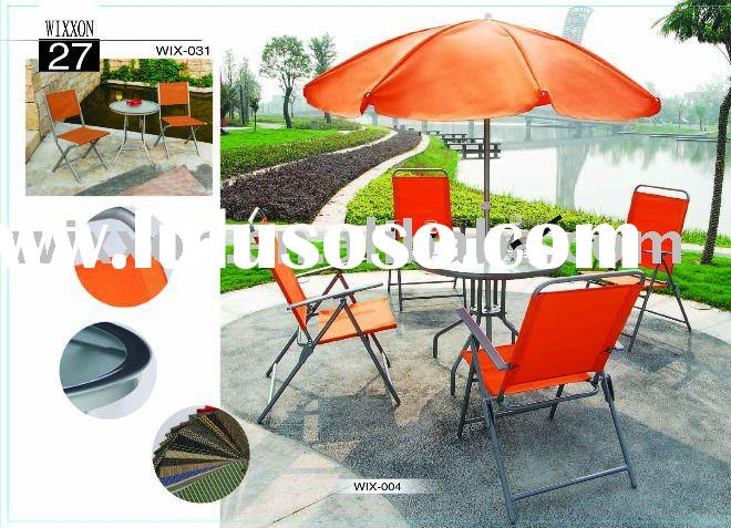 Steel square glass table with 4pcs folding chair and one parasol