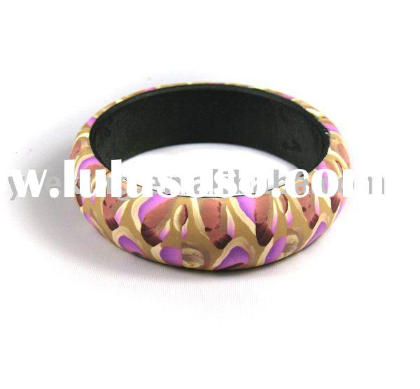 Stylish Polymer Clay Wood Bangle Bracelet Fashion Jewelry