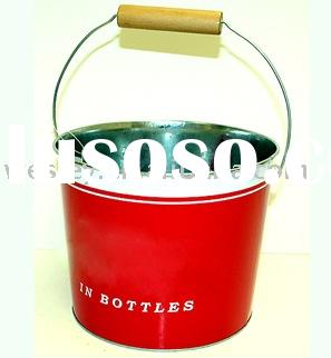 Tin bucket with handle, beverage tin can, metal pail
