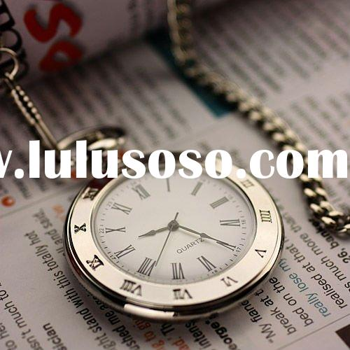 WP018 New Mens Stainless Steel Case White Dial Roman Numbers Modern Pocket Watch with Chain