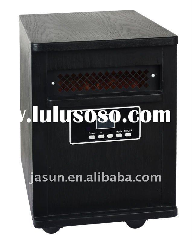 Wooden Cabinet Black 1500W Portable Quartz Infrared Heater with wheels 5120BTU