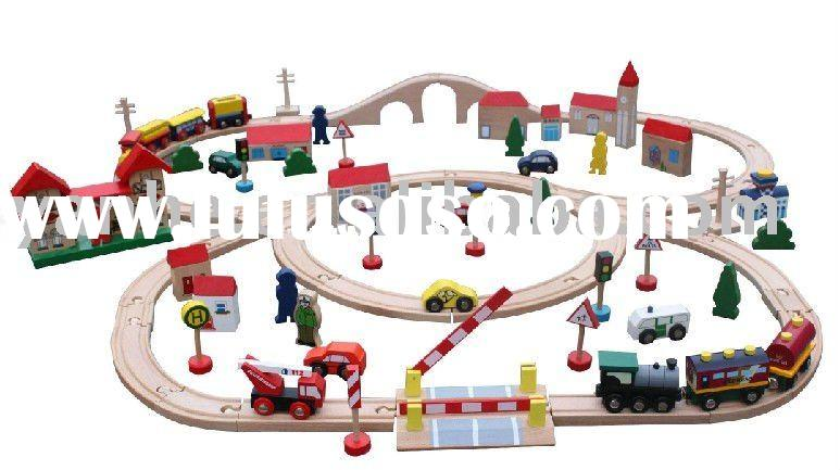 Wood train set and table