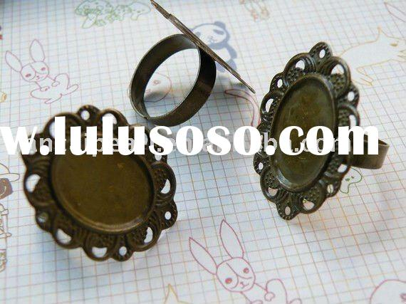 adjustable 19mm ring base blank with 13x18mm pad antique brass bronze Jewelry Findings Accessories F