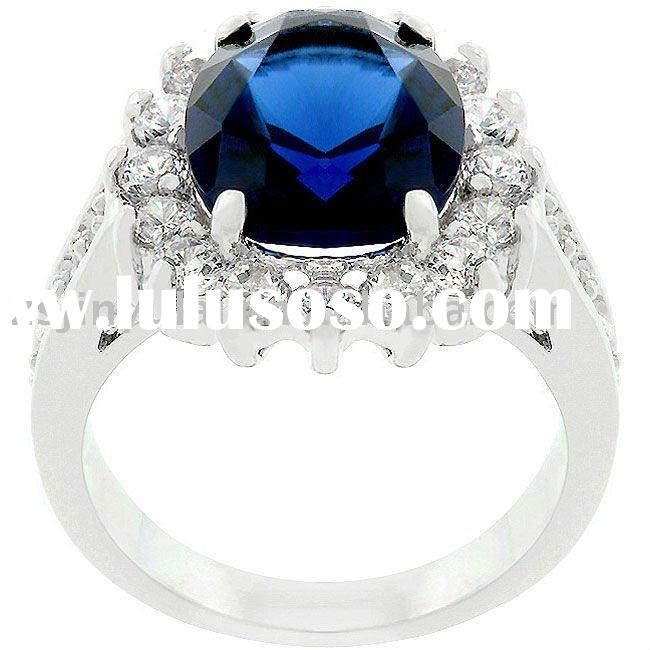 best design silver jewelry of Classic Blue Bridal-inspired engagement ring