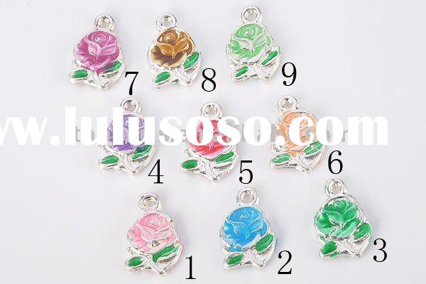 charms beads,European beads,alloy beads,alloy and enamel flower charm beads PCH140