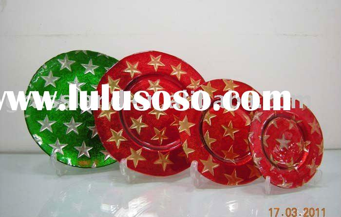 christmas red and green glass plates