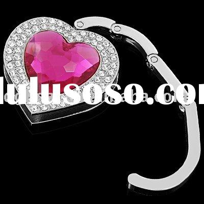 crystal heart folding handbag hook purse hanger