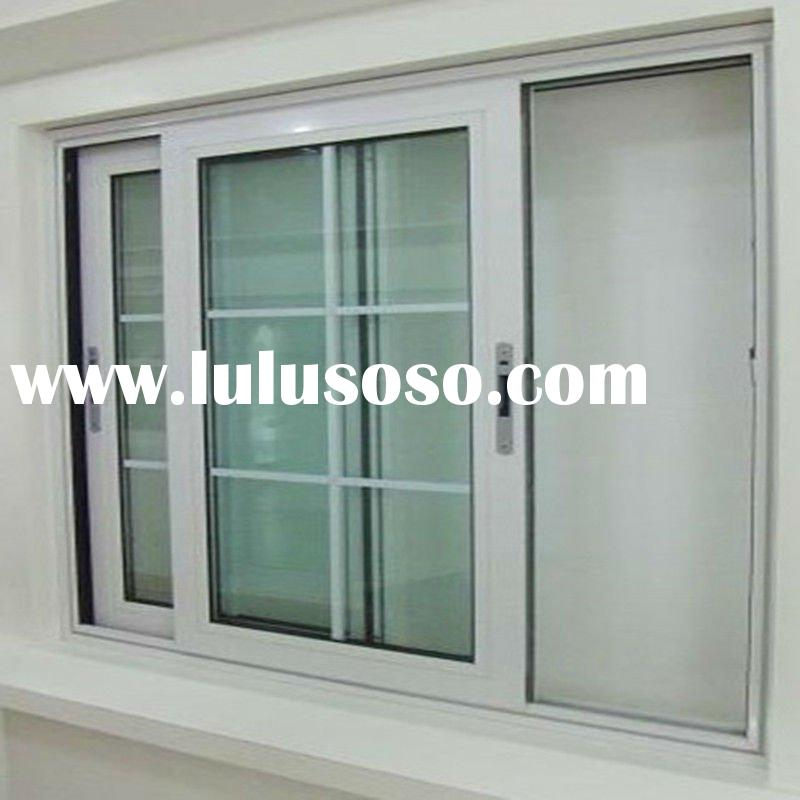 double glass aluminum window with grills design