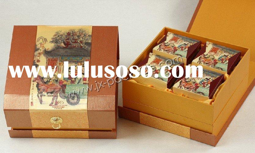 fancy magnet style moon cake cardboard gift packaging box with slope front side JXMB016