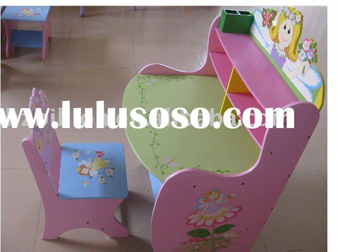 hand painted children learning table wooden desk and chair set kids table