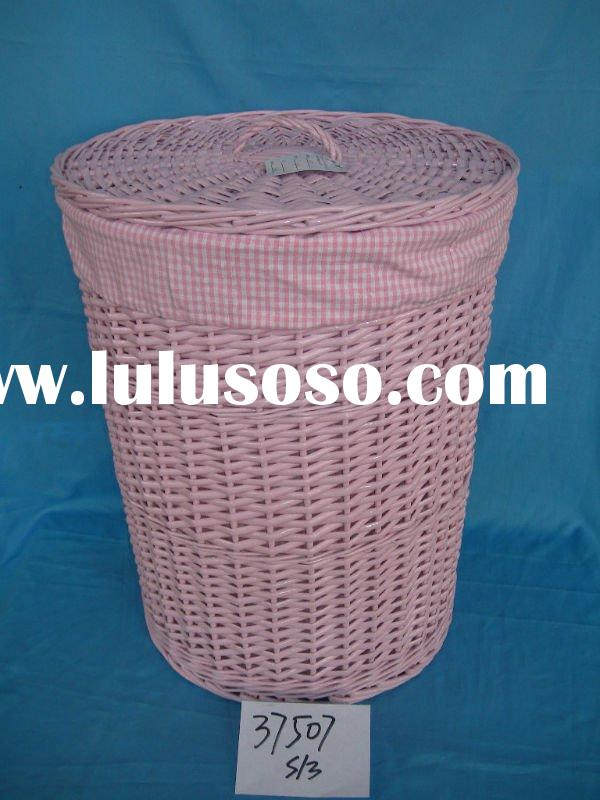 pink laundry willow basket with lid