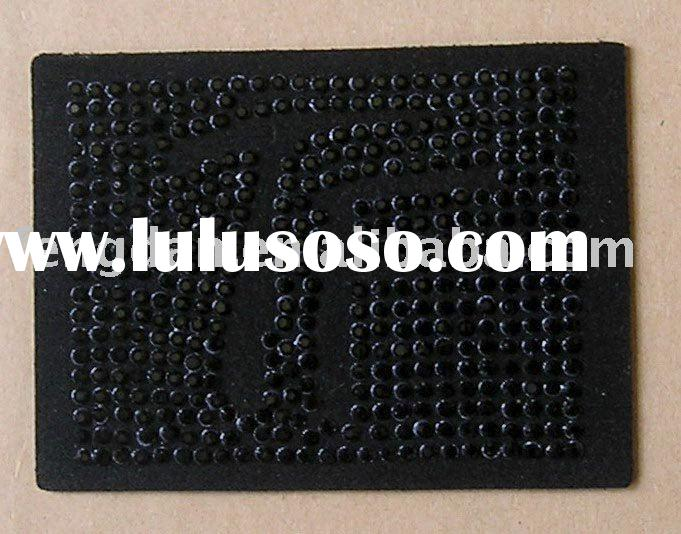 unique real leather jeans label with hotfixed rhinestones pattern