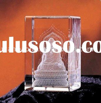 vivid 3D laser crystal craft with Buddha pattern