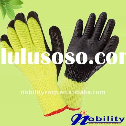10 guage cotton lined crinkle latex/rubber coated grip gloves