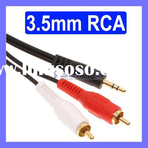 1.5M Gold 3.5mm Stereo Jack to 2 Male RCA Phono Cable