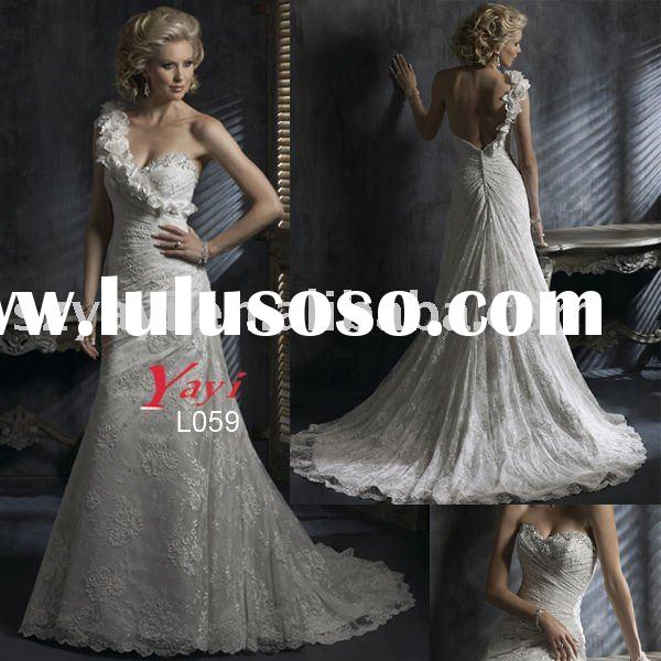 2010 New Applique Lace Wedding Dress,Fast Delivery Bridal Gown
