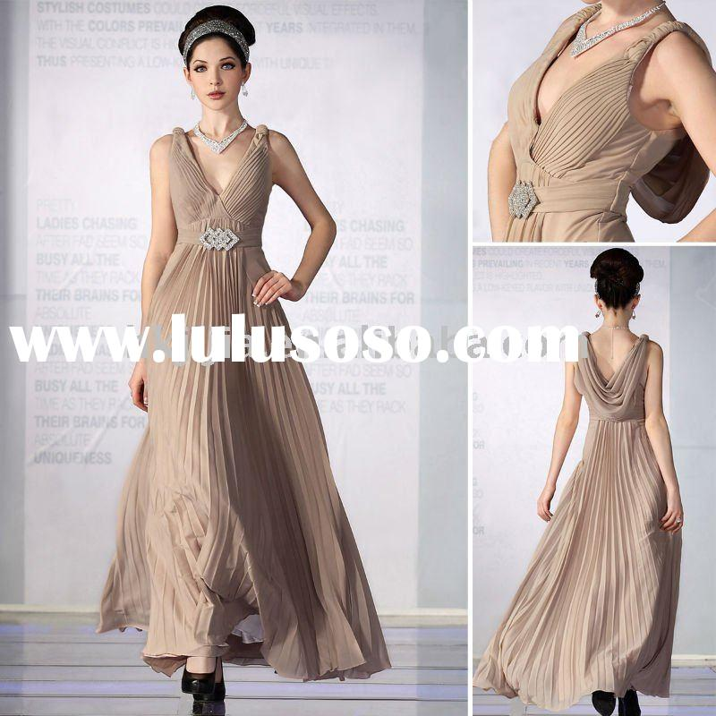 2011 Hot Sale Chiffon V Neck Long Formal Evening Dress