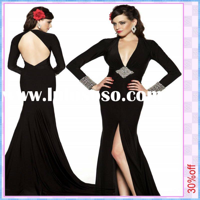2011 New Exquisite Party Dresses Black V-Neck Mermaid Satin Rhinestone Long Sleeve Evening Dress