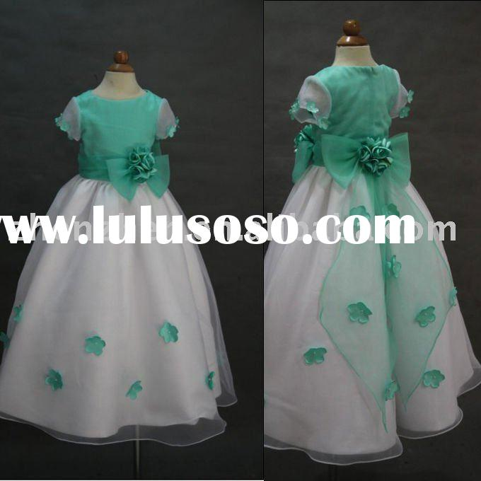 2011 Newest style FG-005 zhenzhen satin organza flower-girl dress
