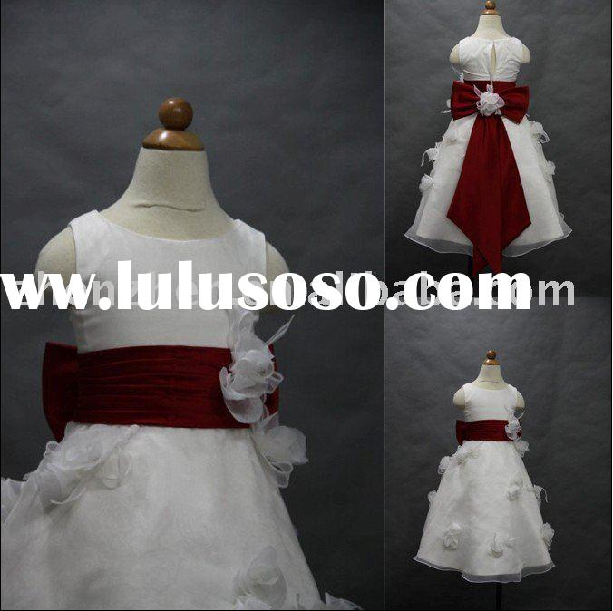2011 Newest style FG-008 zhenzhen satin organza flower-girl dress