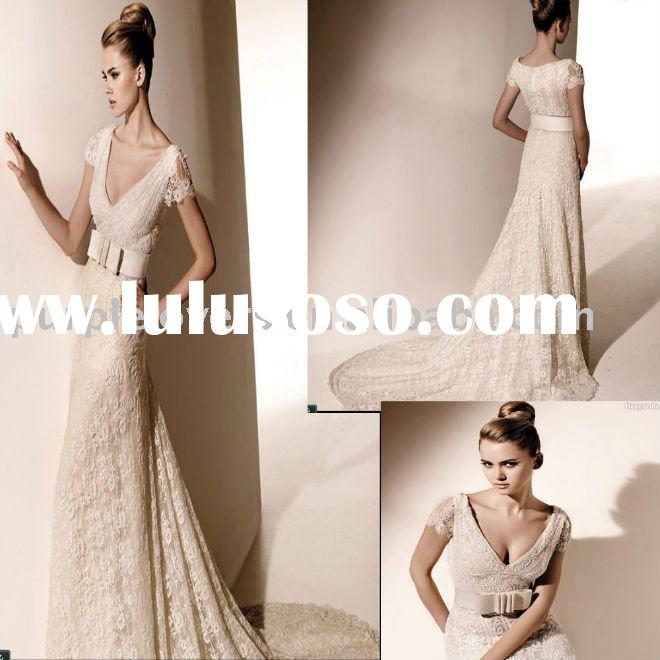 2011 Short Sleeves V Neck lace Mermaid wedding dress