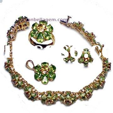 2011 Silver Precious Stone Jewelry Sets Gold Plated