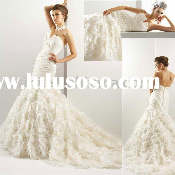 2011 T440 Jasmine Strapless Taffeta Mermaid Chapel Train Bridal Gown Wedding Dresses