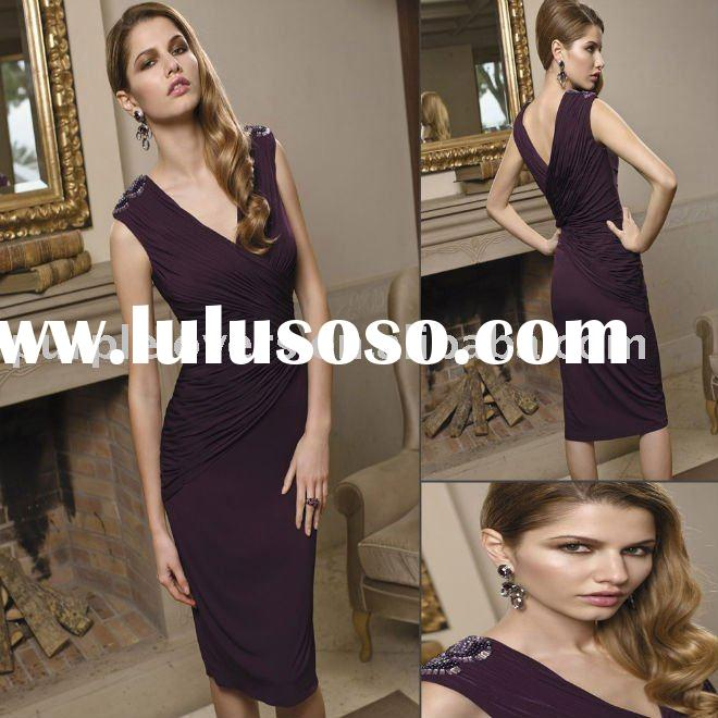 2011 V Neck Knee Length Formal Ladies's evening dress