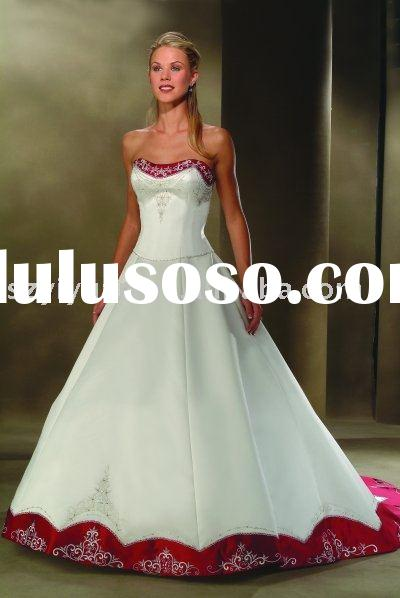 2011 YY517A white and red wedding dress
