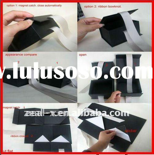 2011 best sell black colour folding paper gift box with ribbon for dress