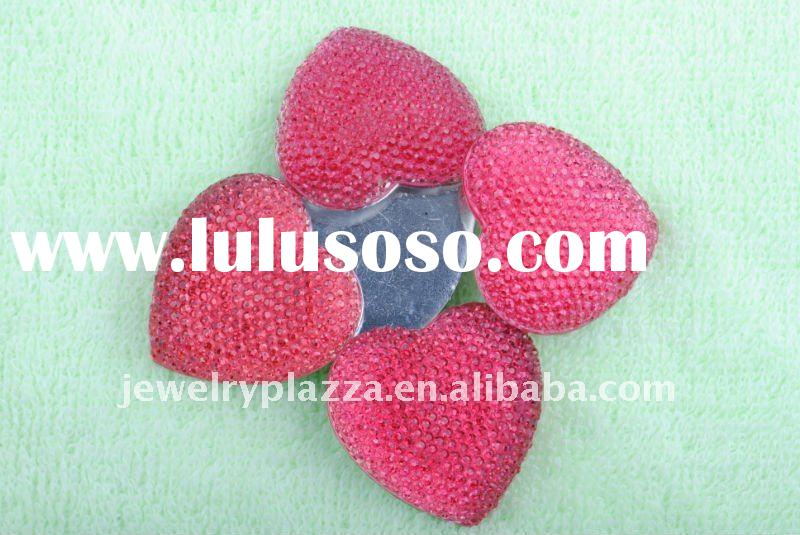 2011 fashion heart shapes flat back resin rhinestone garment accessories