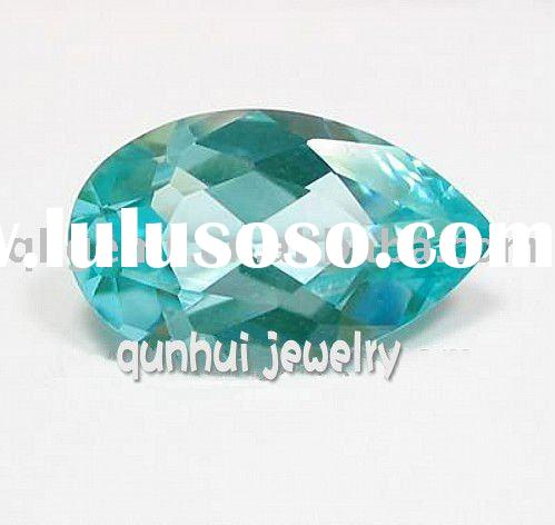 2011 fashion jewelry beautiful imitation blue topaz pear cut cubic zirconia