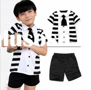 2011 fashion new style hotsale cotton t-shirt+pant summer boy's handsome clothing set