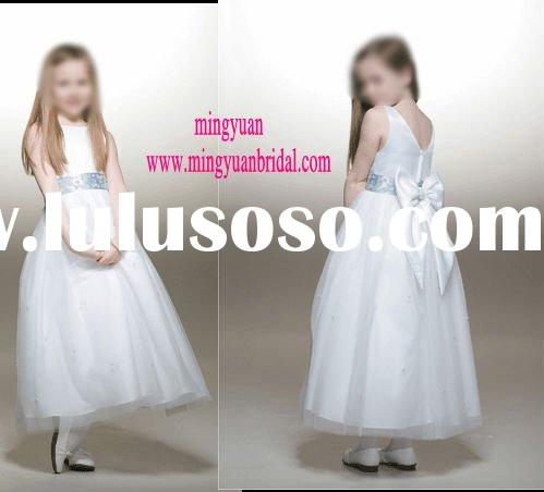 2011 fashion style boutique white beautiful flower girl dress