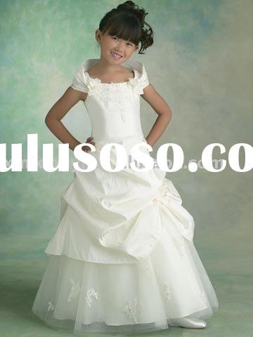 2011 hot sale taffeta cap sleeve lovely flower girls' dress
