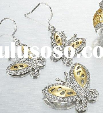 2011 new butterflies 925 sterling jewelry set with cz,silver & gold plated