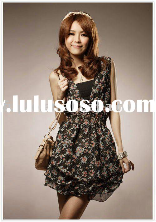 2011 new romantic summer fly; Double V Neck spend wave Chiffon Casual Dress FY8654