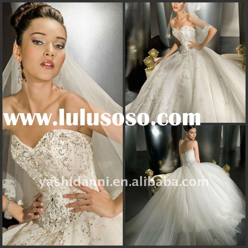 2011 strapless embroidered beaded lace tulle ball gown wedding gown wedding dress