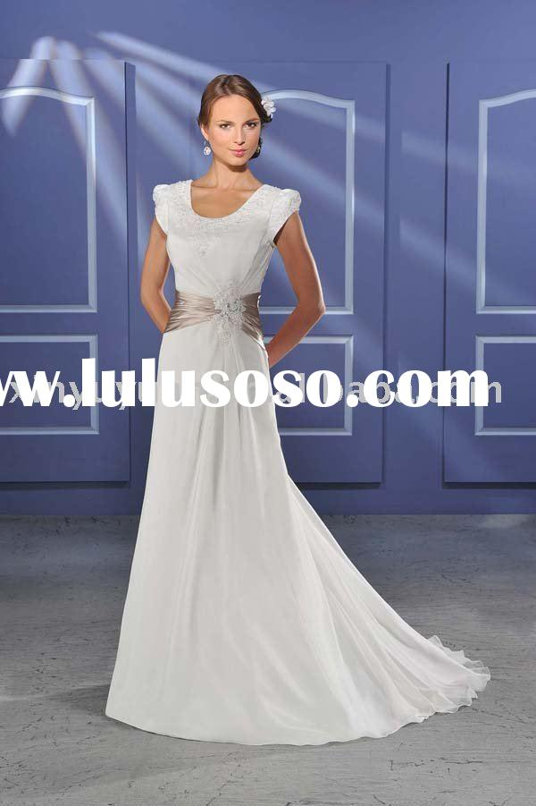 2011 summer short sleeves grace wedding dresses BOW-052