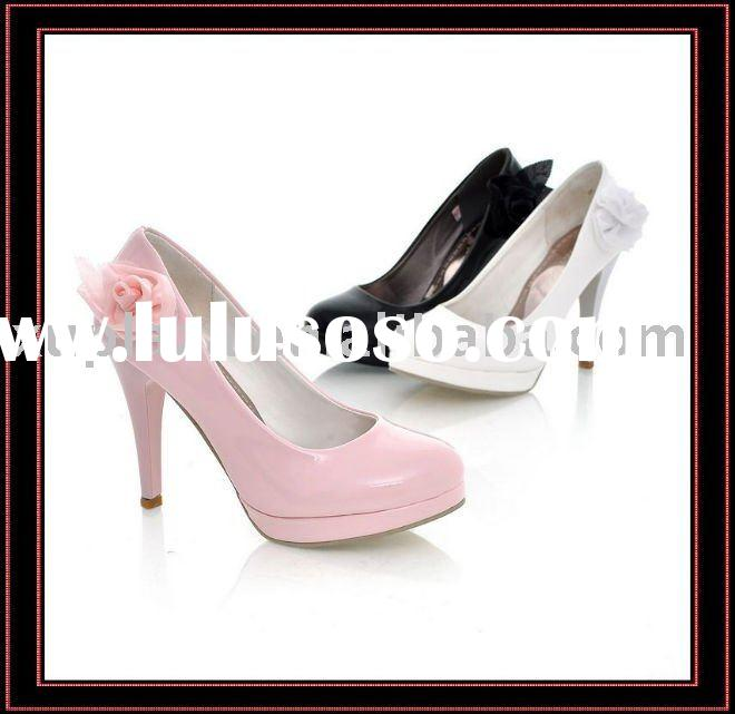 2012 New Lovely Wedding Shoes Pumps Flower Bridal Women High Heel Shoes White Pink Black US4~8.5