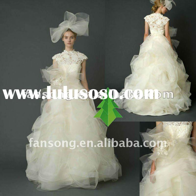 2012 Newest high neck cap sleeve lace corset and organza Wedding Dress