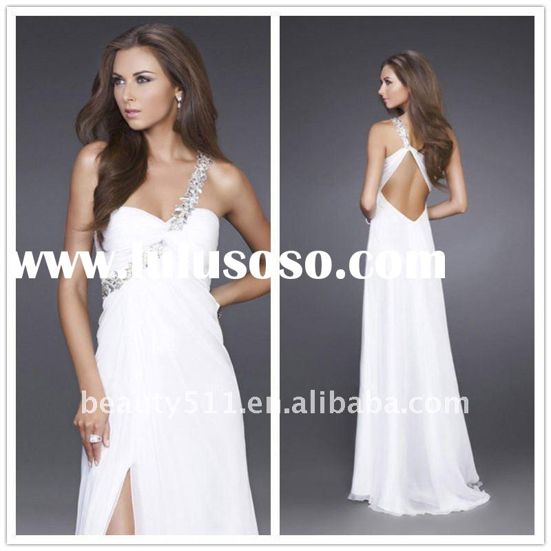 2012 One Shoulder Beading Strap Floor Length White Chiffon Evening Dress AQ37