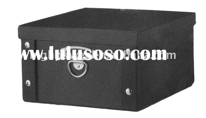 2012 Promotional Foldable Decorative Cardboard Storage boxes with metal handles