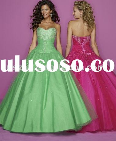 2012 Strapless Ball gown Sweetheart neckline Tulle satin Beaded Prom Dresses PD4039