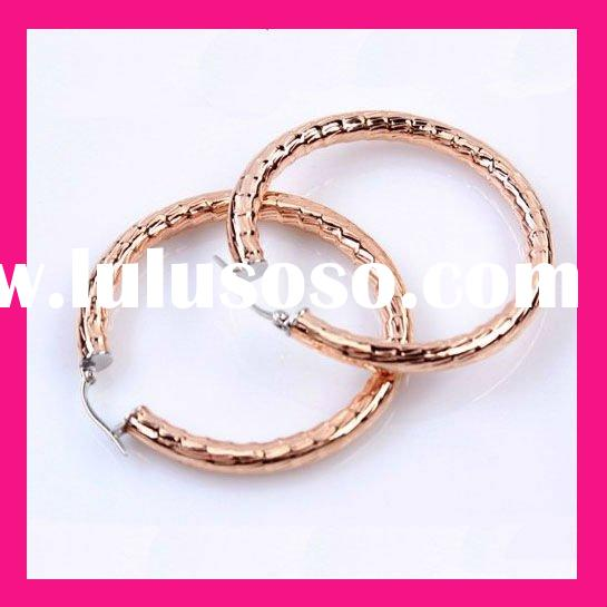 2012 fashion rose gold plated bamboo custom hoop earrings jewelry